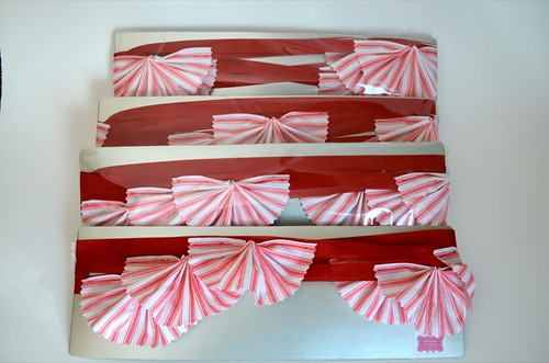 Red ticking stripe garlands