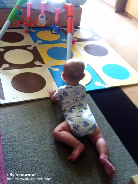 小妮正在學爬呢,小孩成長的速度真的很快,一轉眼已經會爬了。