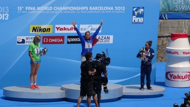 Martina Grimaldi on top of the BCN2013 women's 25K medal podium