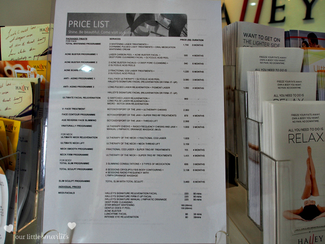 Halley Medical Aesthetics Price List