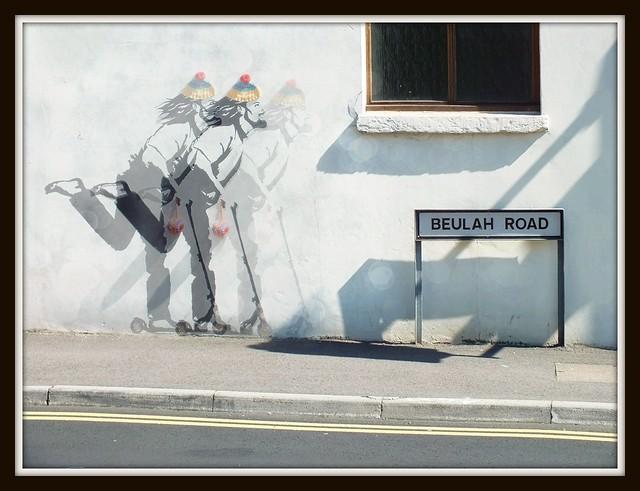 Jesus on a scooter graffiti in Rhiwbina, Cardiff