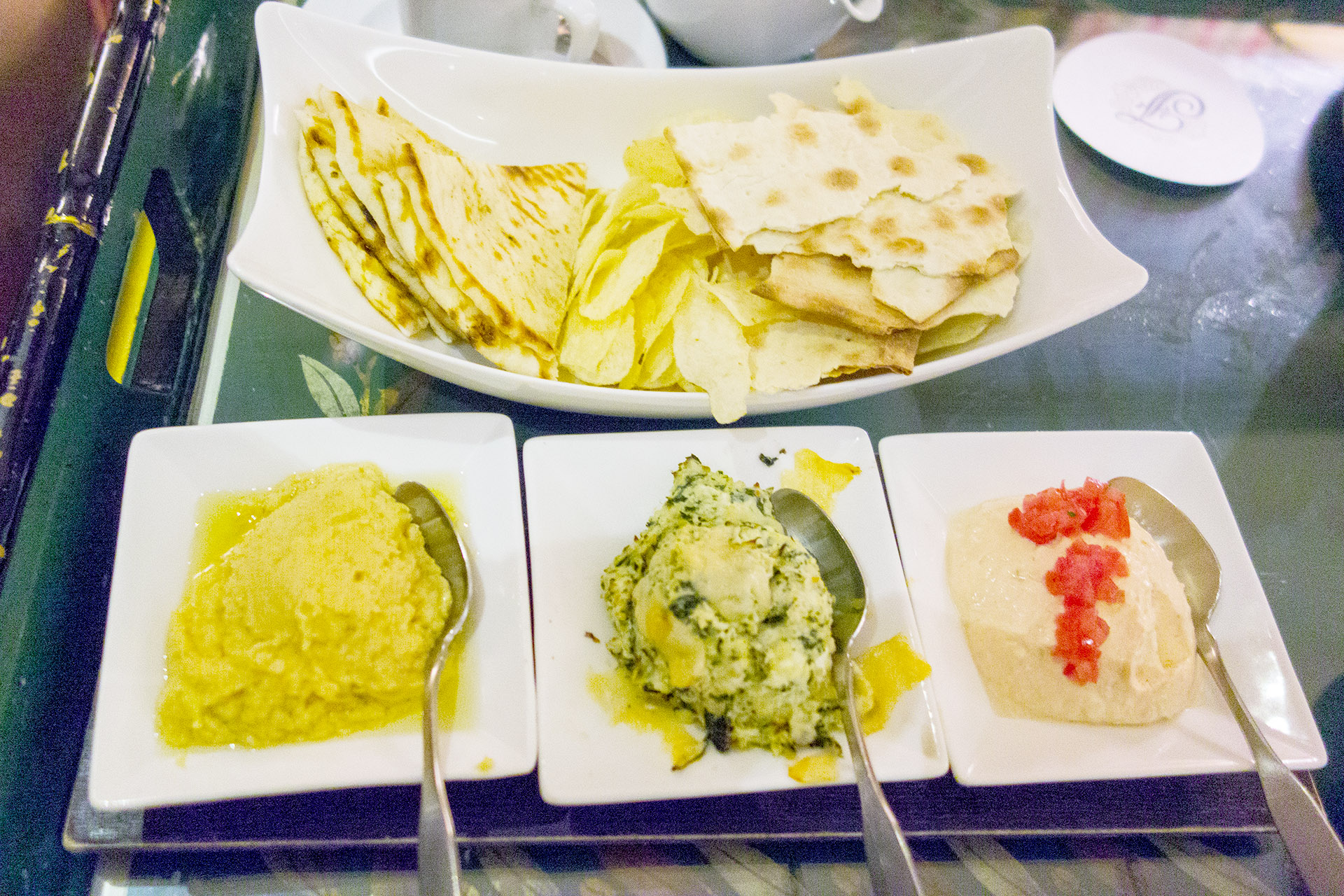 Trio of Dips at Jasmine's in the Fairmont Southampton.