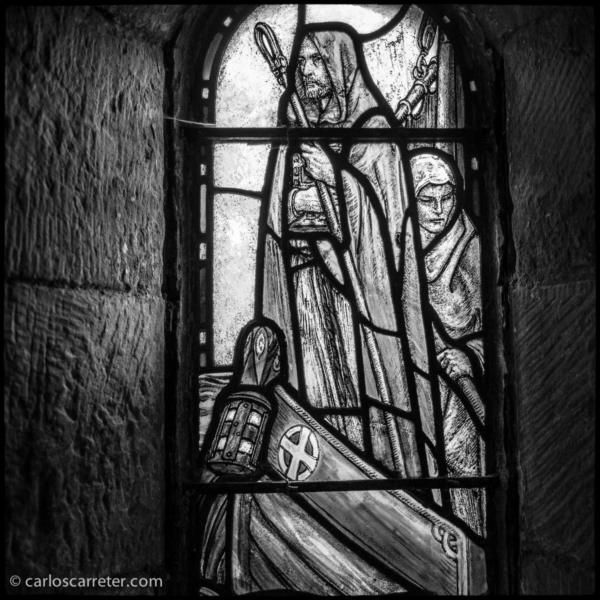 Vidriera en el castillo de Edimburgo