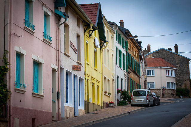 Sleepy street scene in Stenay, France.