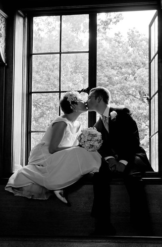 black and white window kiss by Lily M-C