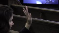 Ellen S. Golden raising her hand