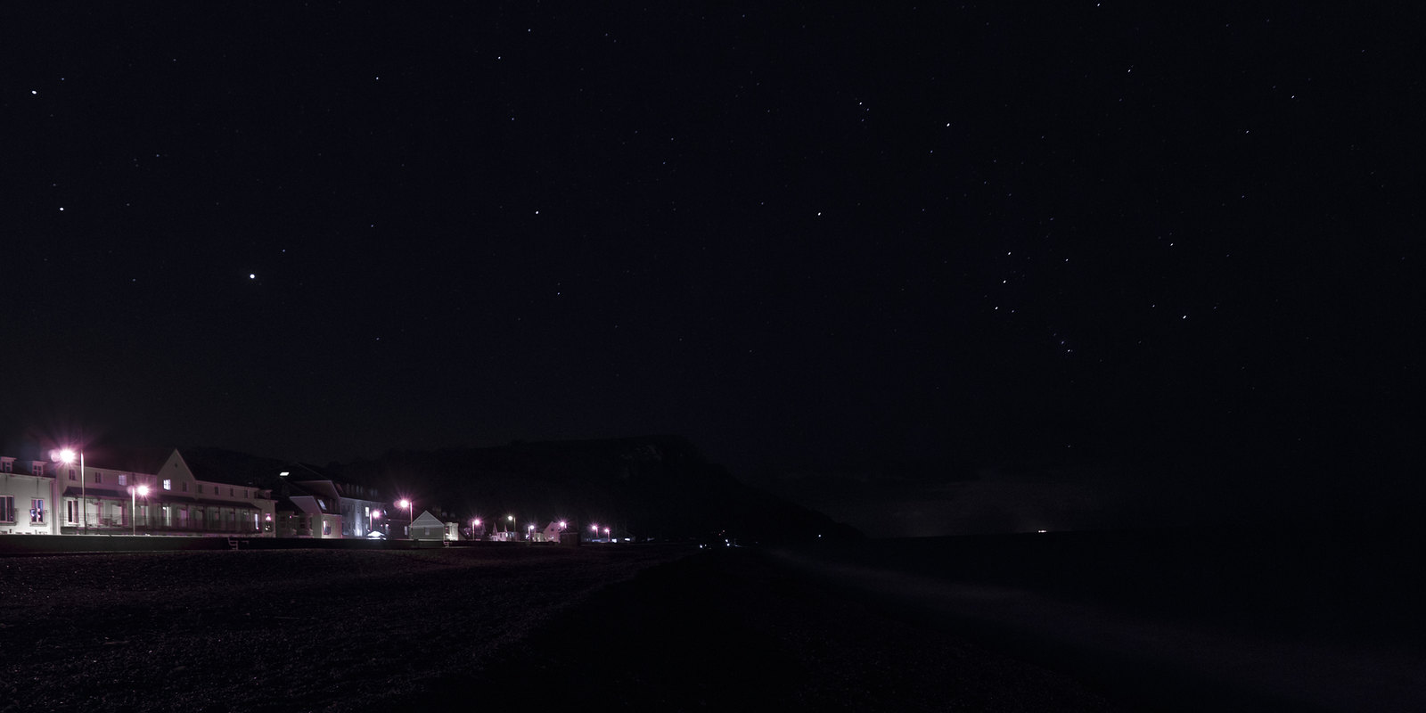 Seaton at Night, with Orion and Beach Fishermen