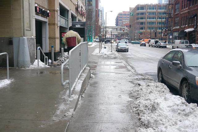 Kinzie/Clark sidewalk construction