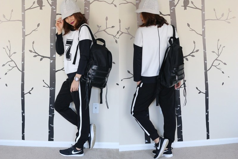 Game Day Outfit, Sporty Black and White Trend, athletic trend, fashion, style, rebecca minkoff zip bag, backpack, Zara sweater, Nike Roshe Run, sneakers