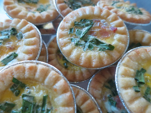 Mini chive and bacon quiche