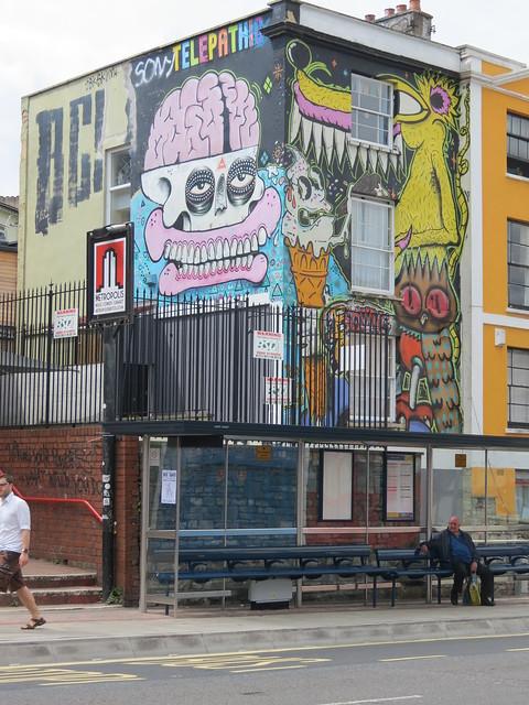 Stokes Croft street art - Sweet Toof, Cyclops, Rowdy, Discreet...