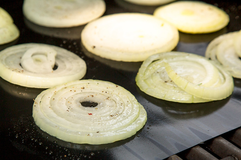 onion slices on grill