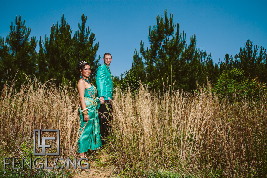 Cambodian bride and groom on their wedding day