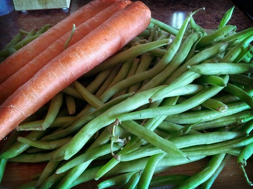 Fresh Green Beans and Carrots...to be prepped for dinner...