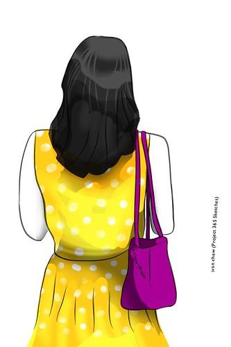 """Polkadot Yellow"" (#149: Project 365 Sketches)"