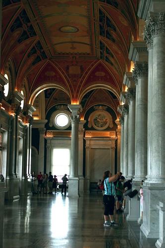 Enjoying the beautiful hall, Library of Congress