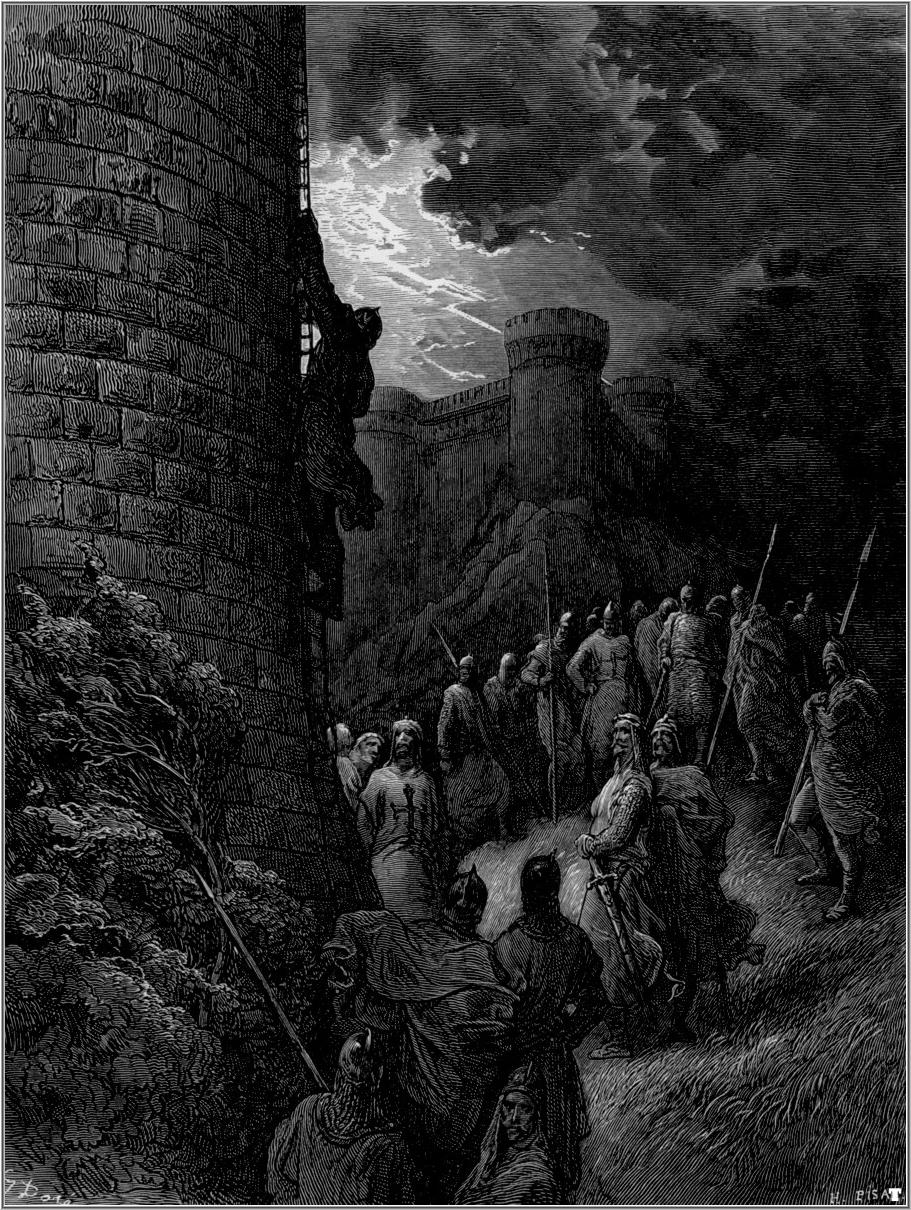 14. Intento de asalto por sorpresa a las murallas. De la obra Las Cruzadas. Gustavo Doré (1832-1883)