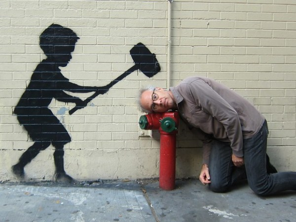 Banksy Upper West Side, Hammer Boy plays Strongman Game: Obvi-Selfie