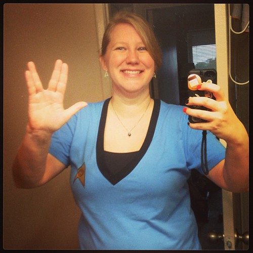 Wearing my new @heruniverse Star Trek shirt + earrings today! Happy #Halloween !