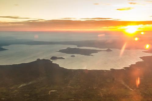 Setting Sun over Taal Volcano