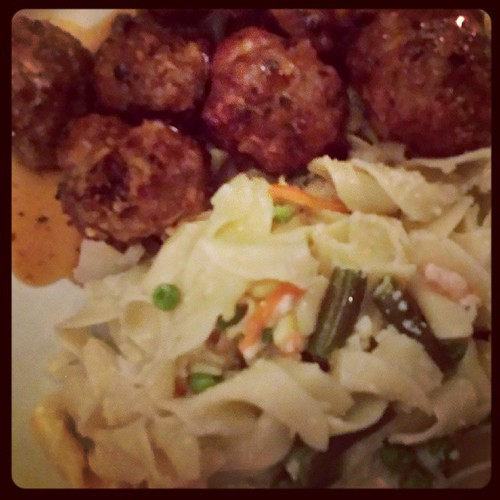 Chili Lime Meatballs accompanied by Browned Butter Noodles with Parmesan and mixed Vegetables #fallmenu #foodie #ieatthereforeiam by Jennifer O'Connell