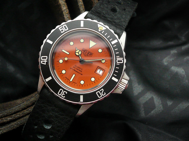 Heuerville vintage heuer tag heuer watches and a few others plus handmade straps - Orange dive watch ...