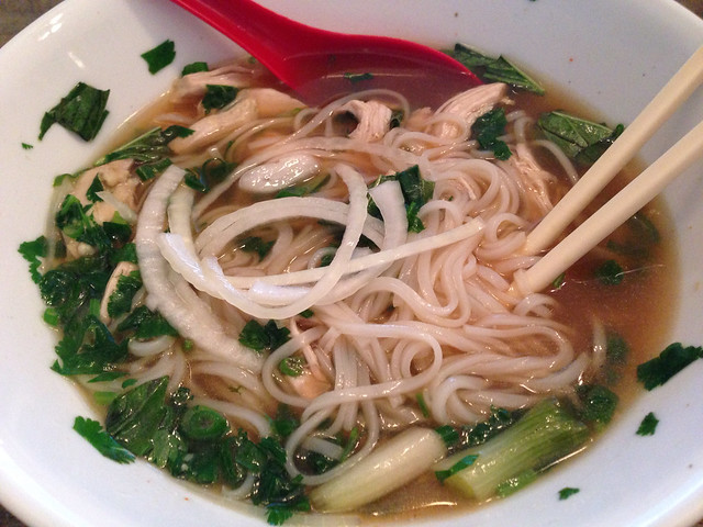 A bowl of Pho Ga chicken noodle soup
