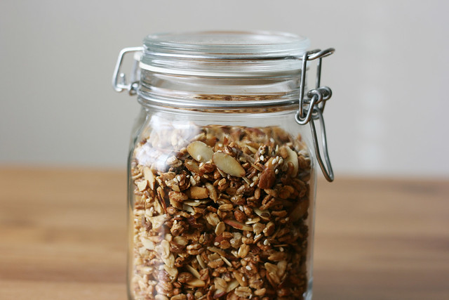 Crunchy puffed grain granola with almonds and honey on alickofsalt.com