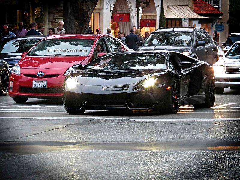 Black Lamborghini Aventador in Carmel