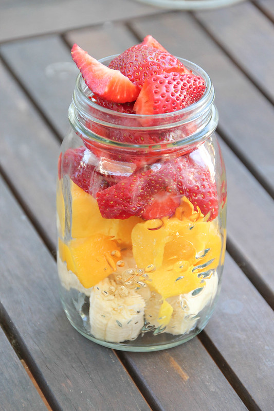banana mango and strawberry prep