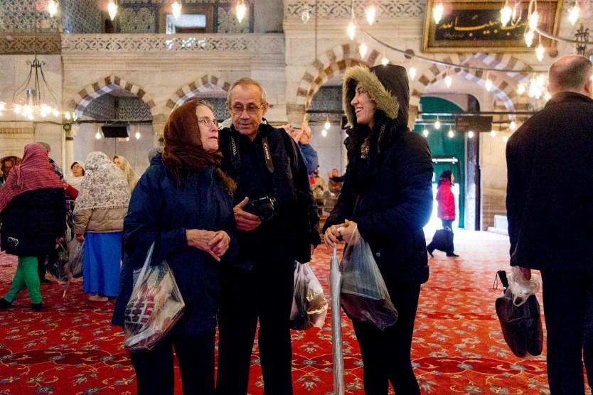 Gül and Matt's parents inside the Blue Mosque.