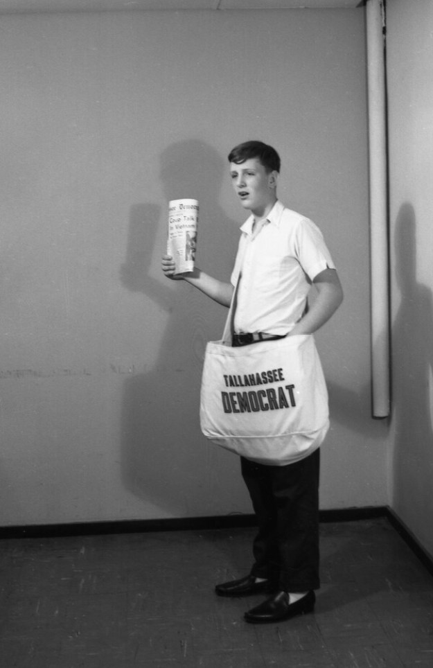 Newspaper delivery boy, Tallahassee Democrat delivery boy