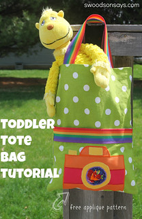 Toddler Tote Tutorial with Free Camera Applique Pattern - Swoodson Says
