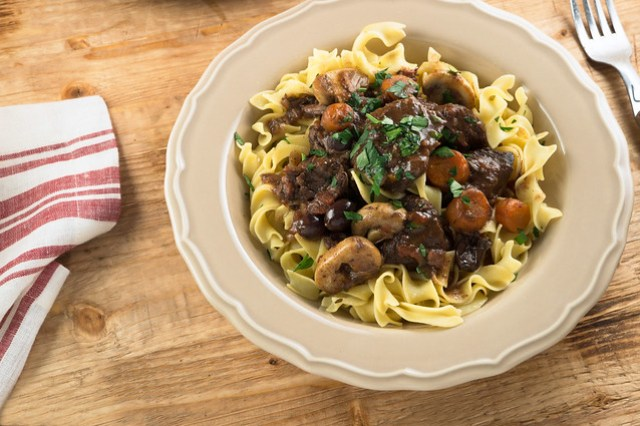 provencal beef stew with buttered noodles