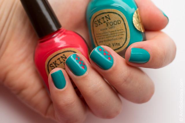 01 Skin Food nail Vita red RE108 blue BL514 Ann Sokolova swatches