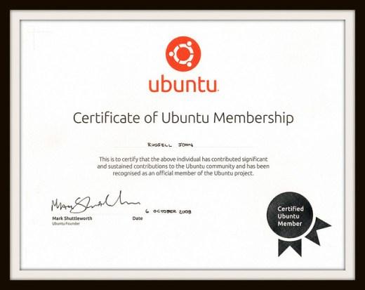 Ubuntu Membership Certificate
