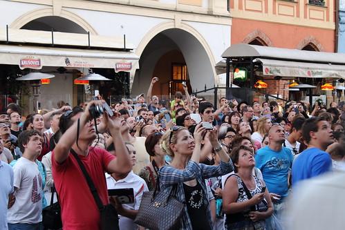 Crowd watching the Orloj striking the hour in Prague.