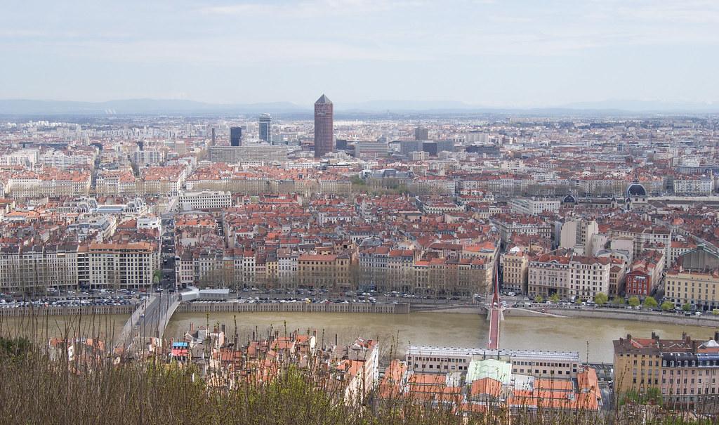 Lyon, le mont Blanc et les Alpes depuis Fourvière