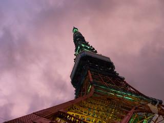 豪雨後の夕暮れに映える東京タワー