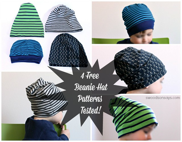 Free slouchy beanie hat sewing pattern