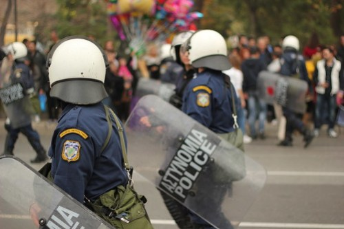 Police at Thessaloniki military parade