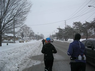 running during the half (roads with cars and runners)