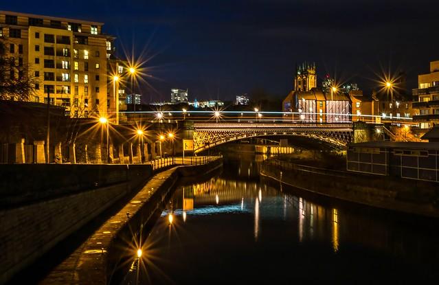 Crown point bridge by night