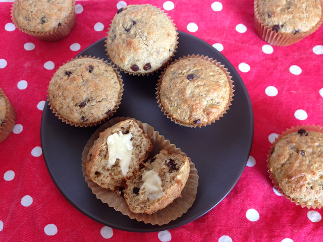 Vegan Banana Chocolate Chip Coconut Muffins