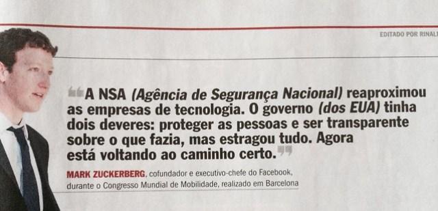 Mark Zukerberg, do Facebook, foi um dos palestrantes do Mobile World Congress 2014 em Barcelona, Espanha, a revista Veja deu o destaque para a sua fala.
