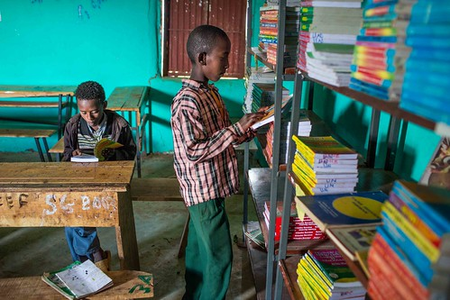 Pupils study at a library donated and supported by Unicef at Tutis Primary School