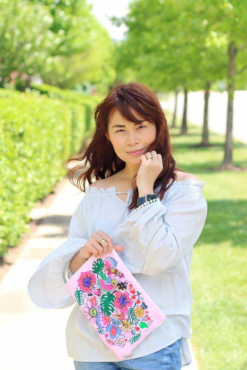shein-light-blue-off-shoulder-top-mimichatter-beauty-bag-4