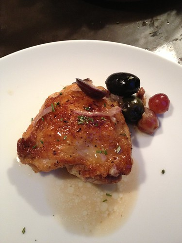 Roast chicken with olives and grapes