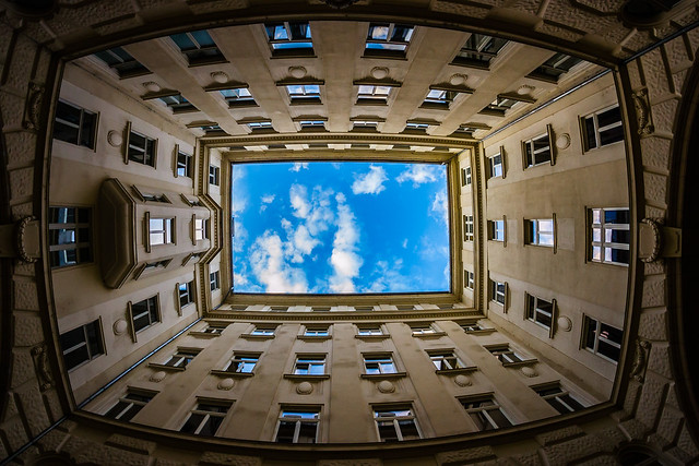 Courtyard, looking up, Budapest, Hungary