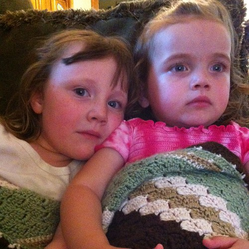 I'm not sure if I will get my blanket back. #sisters #love #crochet